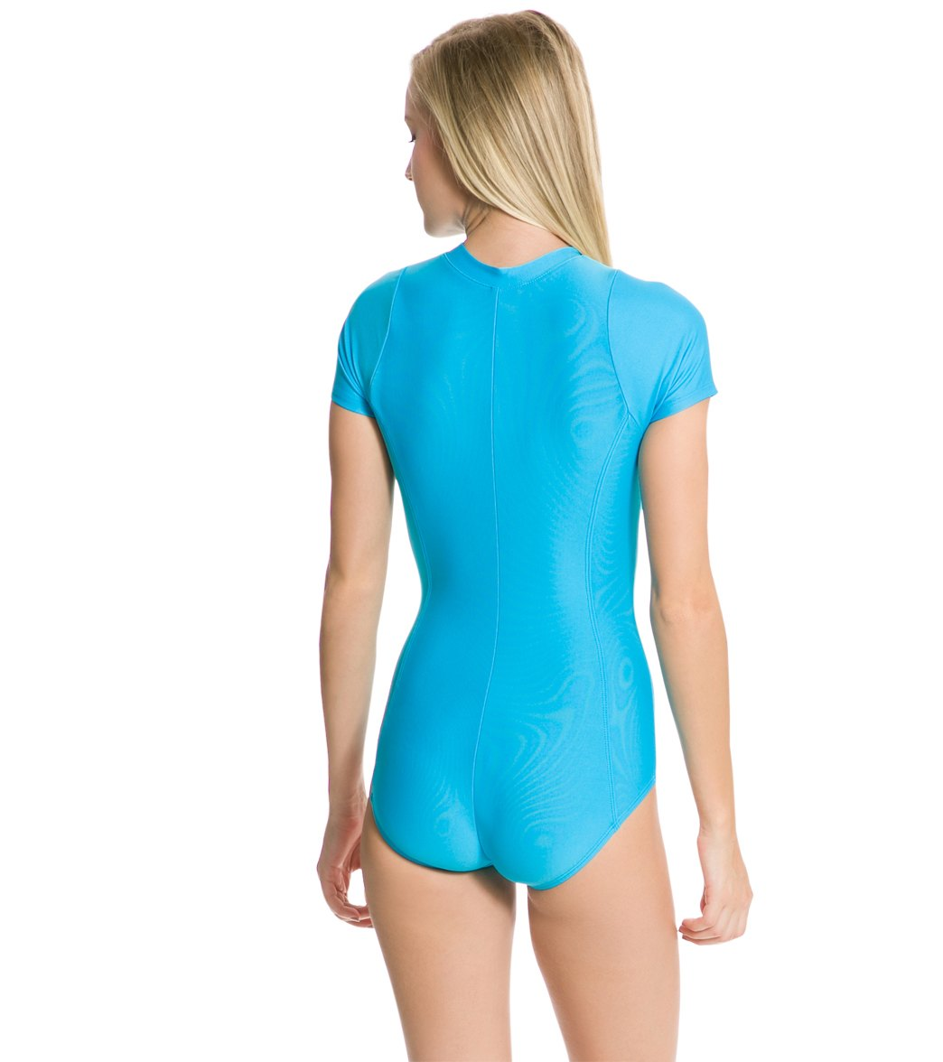 48a9a0cad3c9d Next Good Karma Solid Malibu Zip Short Sleeve One Piece Swimsuit at ...