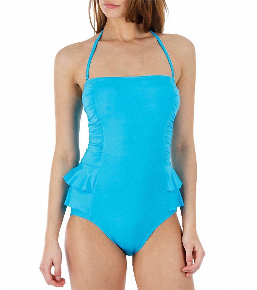 aeb04443713 Jantzen Solid Peplum Bandeau One Piece Swimsuit at SwimOutlet ...