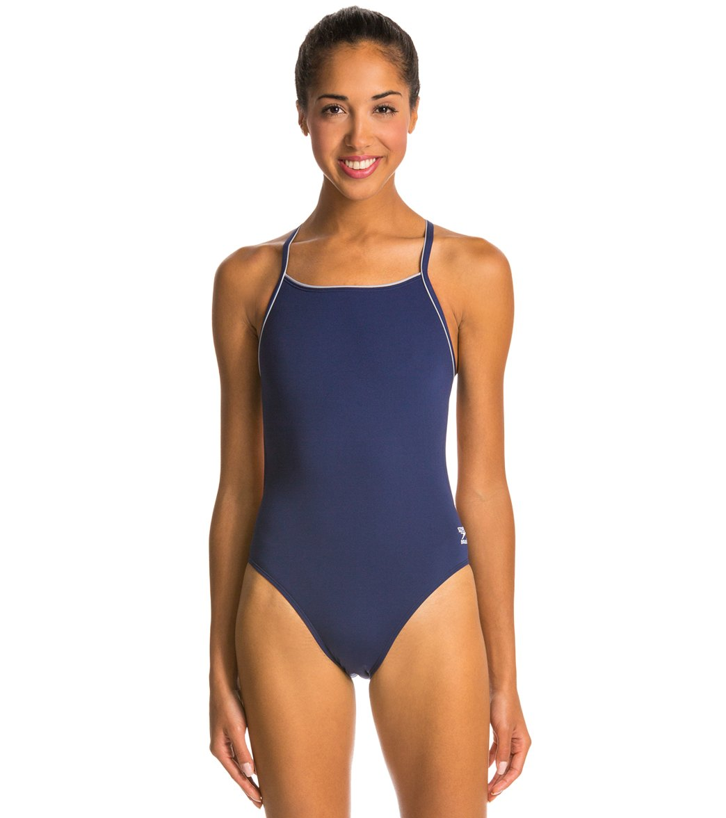 8a1a03905135f Speedo Solid Endurance + Thin Strap Swimsuit at SwimOutlet.com - Free  Shipping