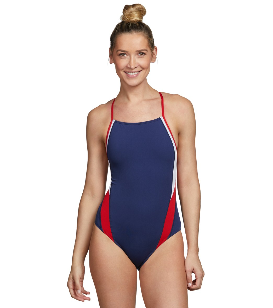 9563c8a922596 Speedo Launch Splice Endurance + Cross Back Swimsuit at SwimOutlet.com -  Free Shipping