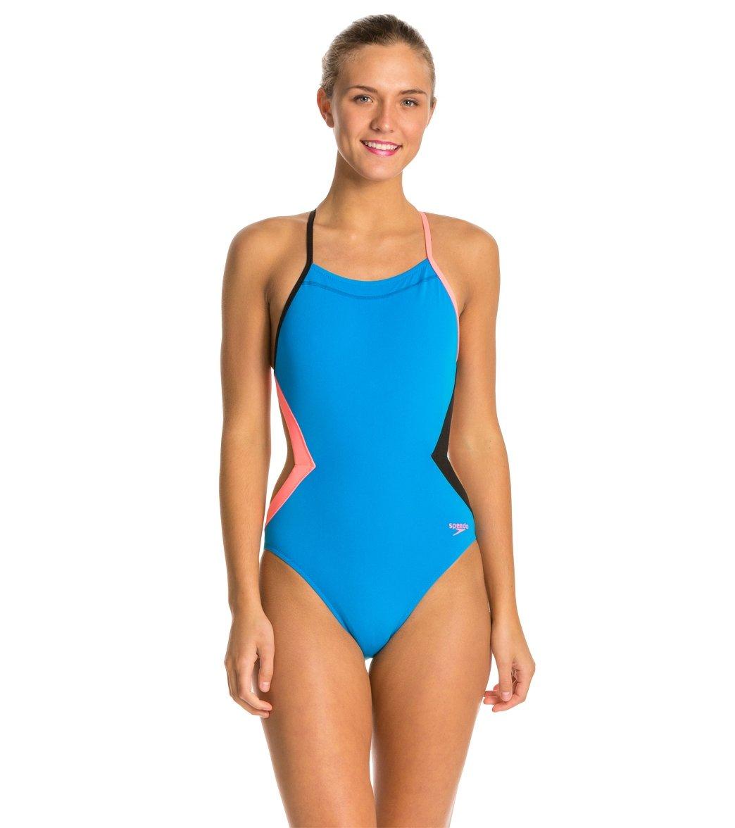 8661d0b955794 Speedo Flipturns Solid Colorblock One Piece Swimsuit at SwimOutlet ...