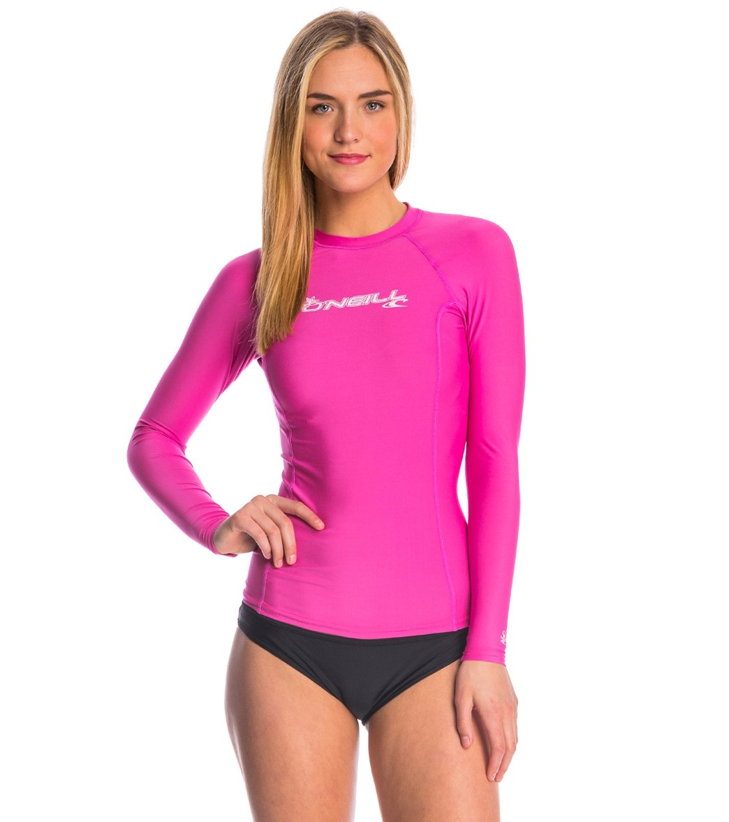5d1bb9f737 O'Neill Women's Basic Skins Long Sleeve Crew Rashguard