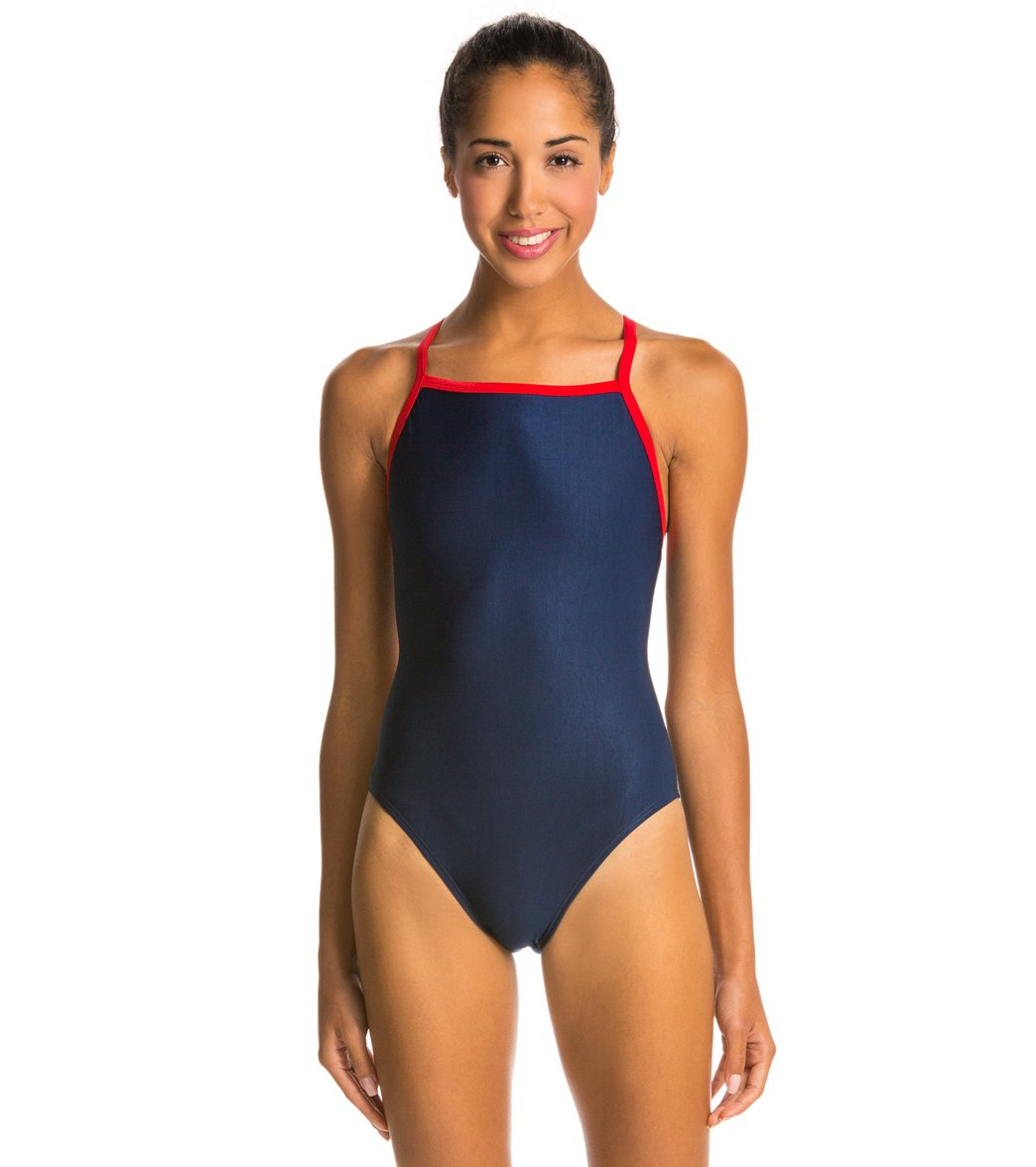 f3f3d407276 Waterpro Piped Polyester Thin Strap Swimsuit at SwimOutlet.com