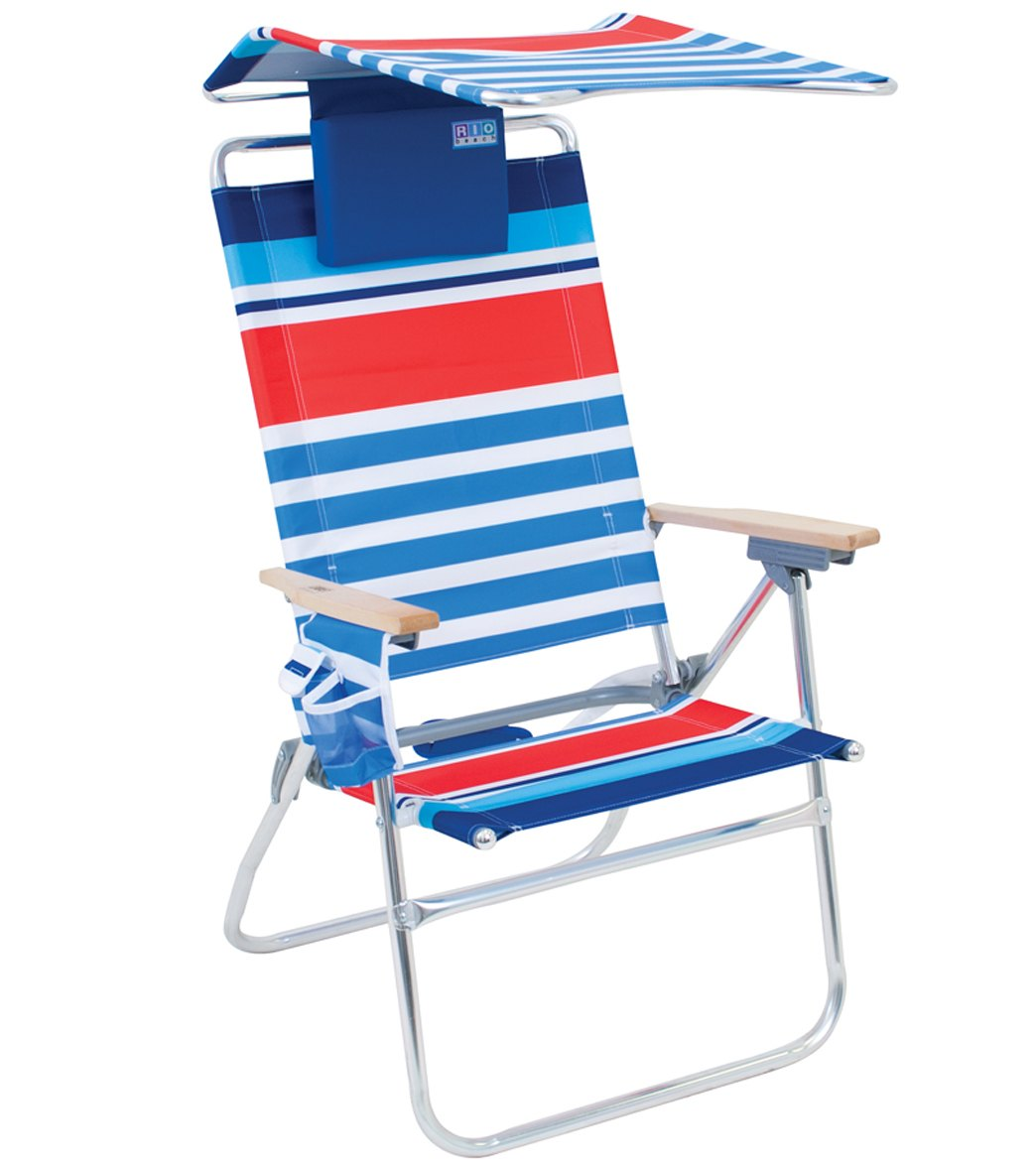Rio Brands Hi Boy Aluminum Beach Chair With Canopy And Pillow At Swimoutlet Free Shipping