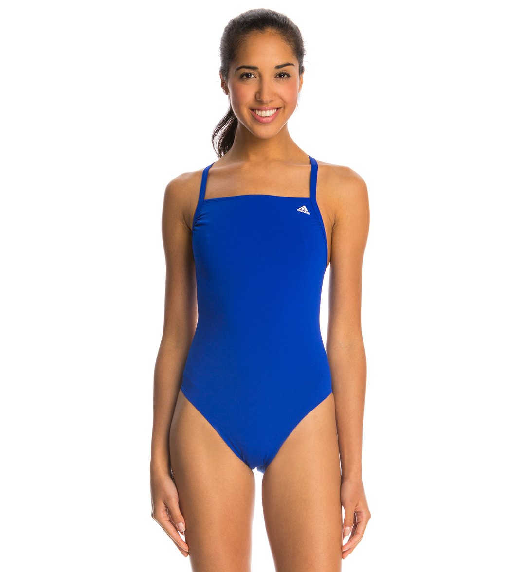 Adidas Women's Infinitex + Solids Vortex Back One Piece Swimsuit - Blue 22 Polyester/Pbt - Swimoutlet.com
