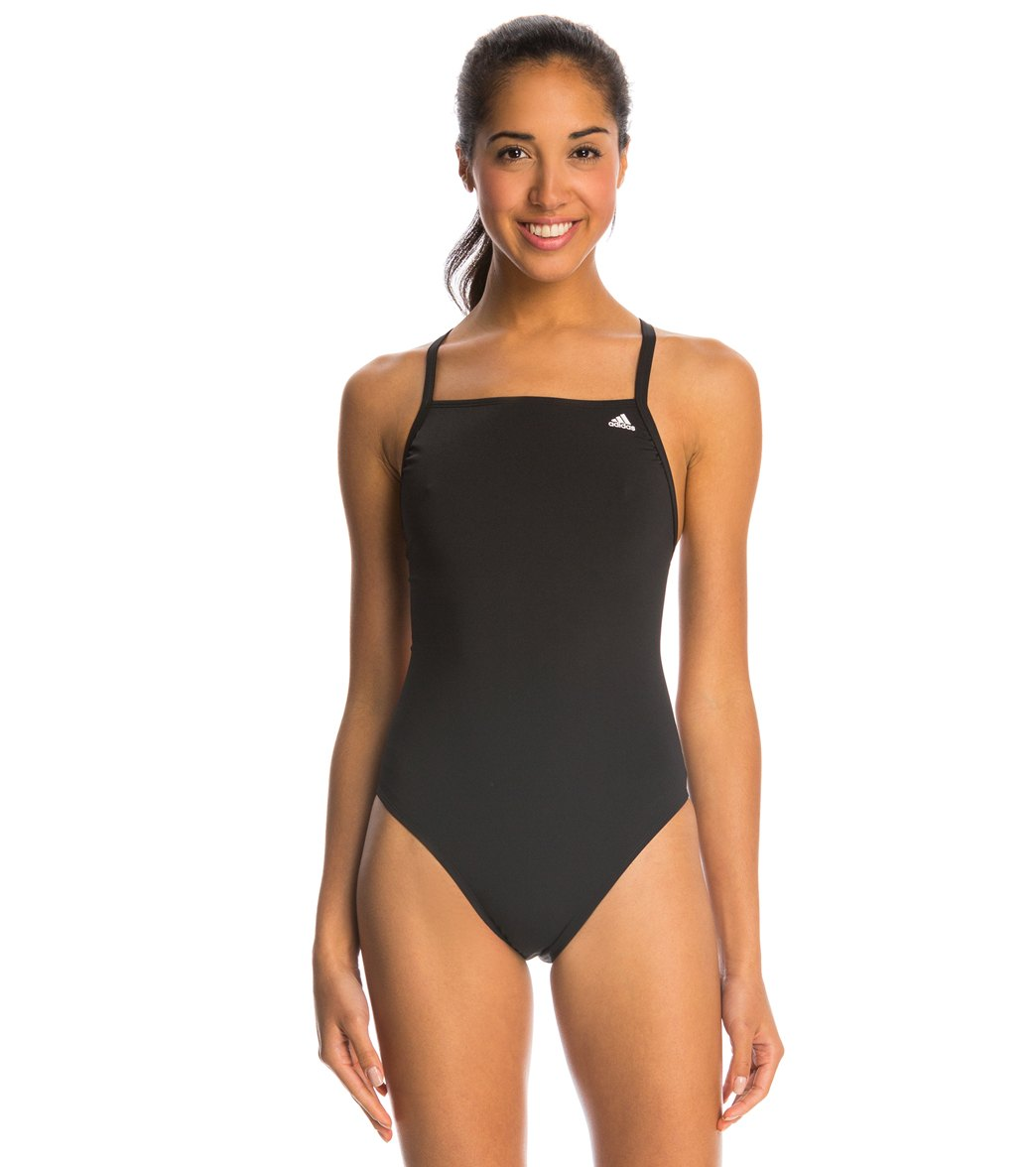 Adidas Women's Infinitex + Solids Vortex Back One Piece Swimsuit - Black 38 Polyester/Pbt - Swimoutlet.com