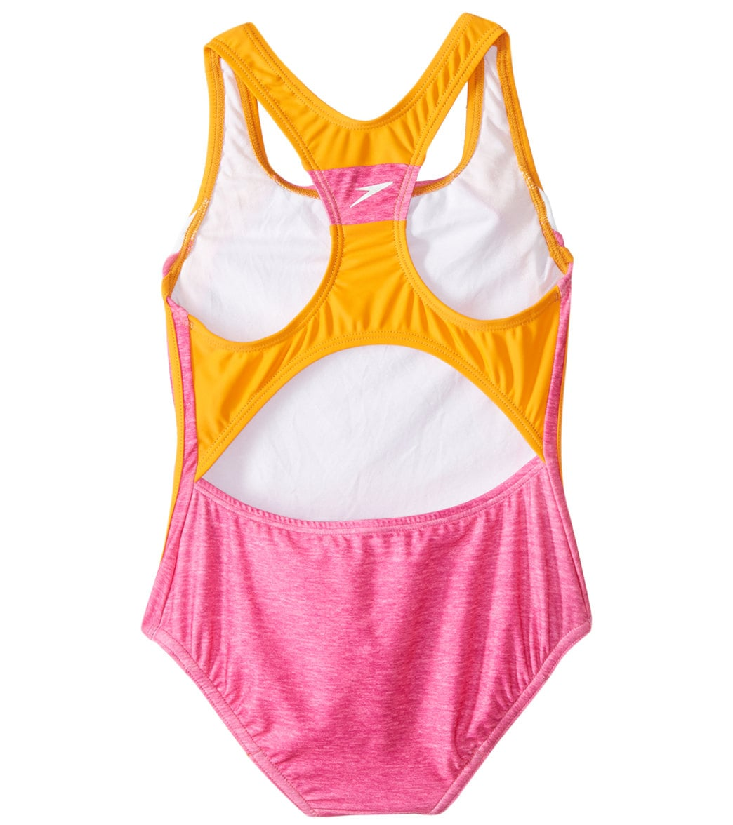456585ab071 Speedo Girls  Solid Infinity Splice One Piece Swimsuit (Big Kid) at ...