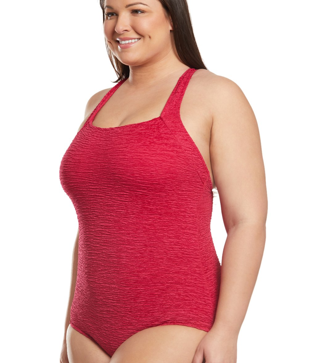 1ca7f6f725 Penbrooke Krinkle Plus Size Chlorine Resistant One Piece Active Back  Swimsuit