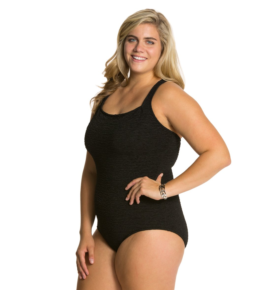 2c03bab8a8224 Penbrooke Krinkle Plus Size Chlorine Resistant Active Back One Piece  Swimsuit (D-Cup) at SwimOutlet.com - Free Shipping