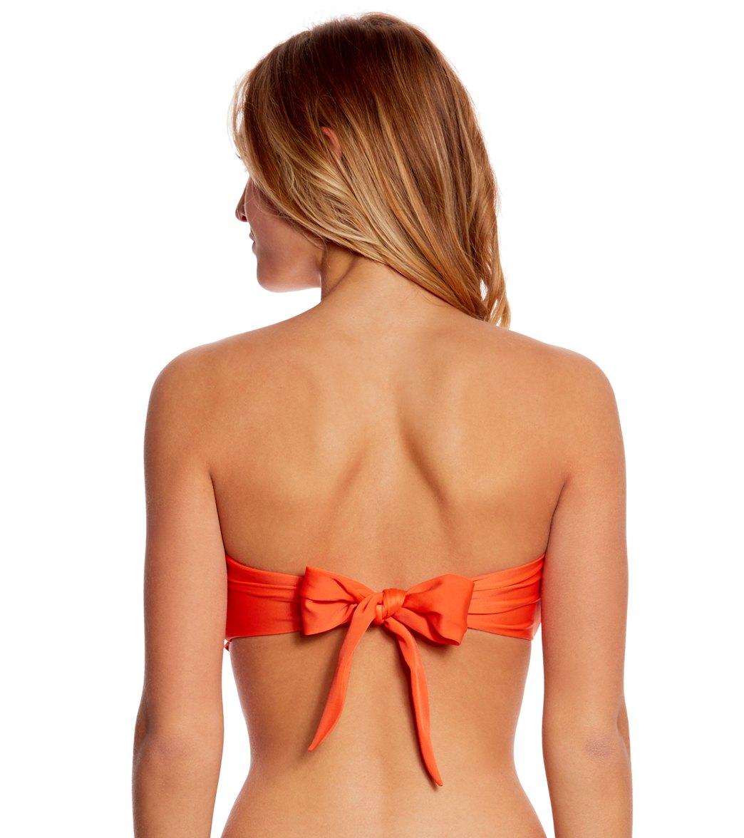 cff5649f3f Sofia Solid Orange Ripple Bandeau Top at SwimOutlet.com - Free Shipping