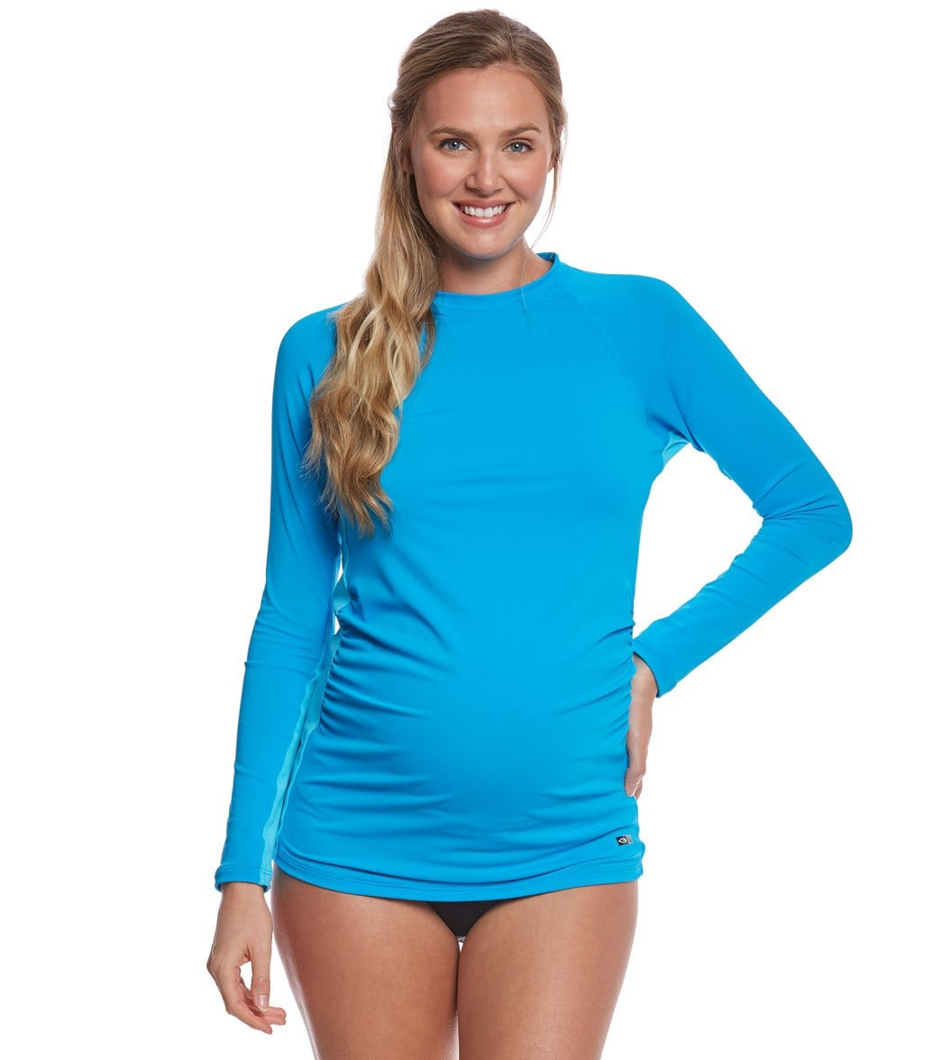 15eb6ea4d2504 EQ Swimwear Turquoise Hawaii Maternity Rashguard at SwimOutlet.com - Free  Shipping