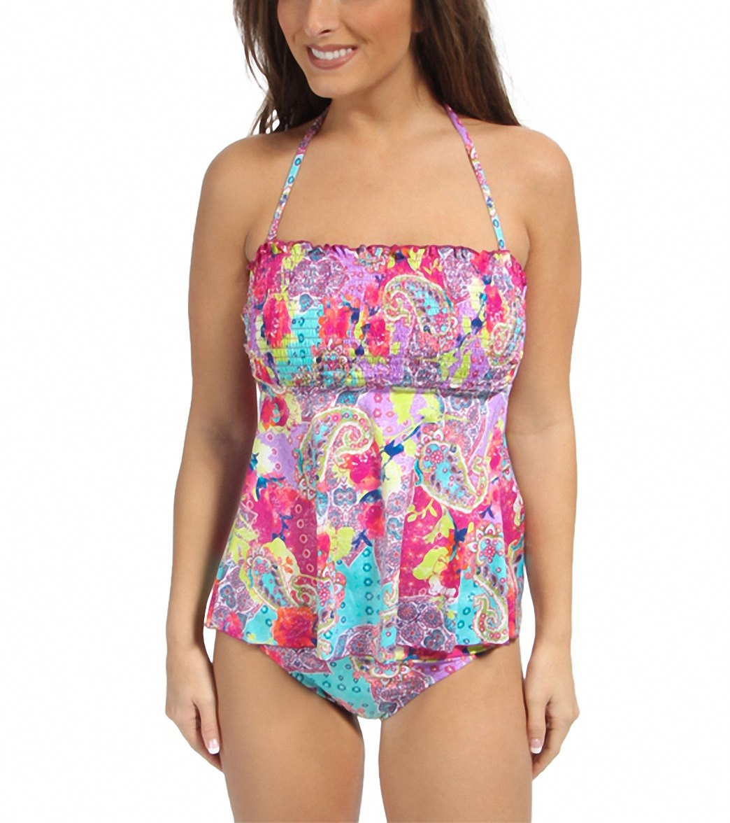 47970610b5 Kenneth Cole Modern Gypsy Smocked Tankini Top at SwimOutlet.com ...