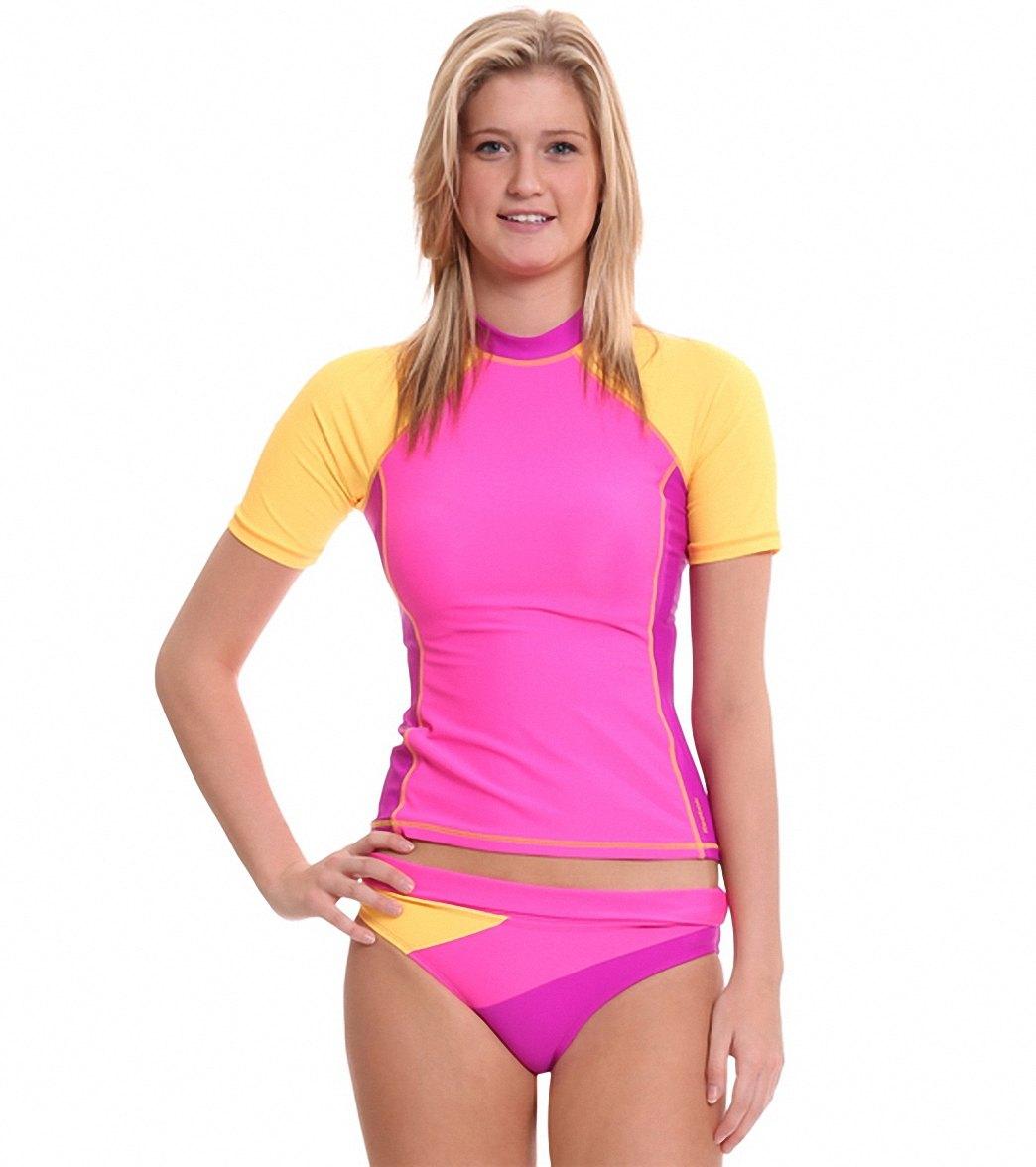 ... Reebok Fitness Cheryl Solid Coverup Rash Guard Top. MODEL MEASUREMENTS 6f939699f