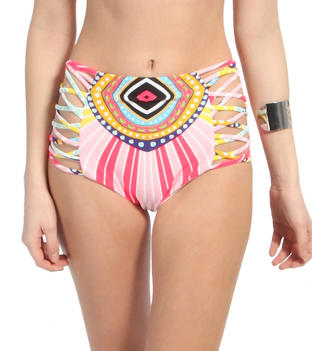 af686df82e7 Mara Hoffman Rays Lattice High Waisted Bikini Bottom at SwimOutlet ...