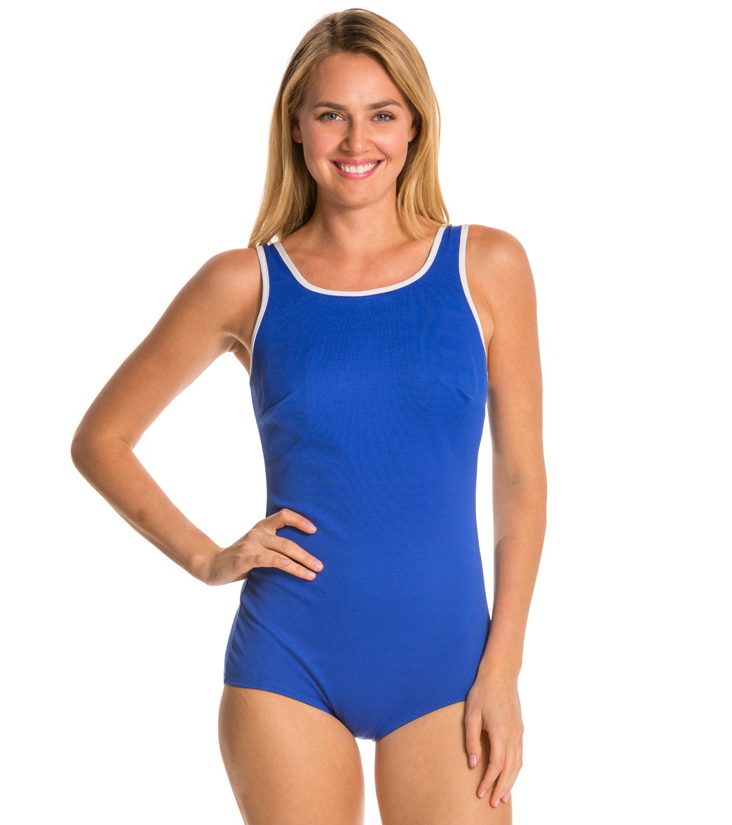 59a4629bdb Tuffy Chlorine Resistant Polyester Active Tank Mastectomy One Piece  Swimsuit at SwimOutlet.com - Free Shipping