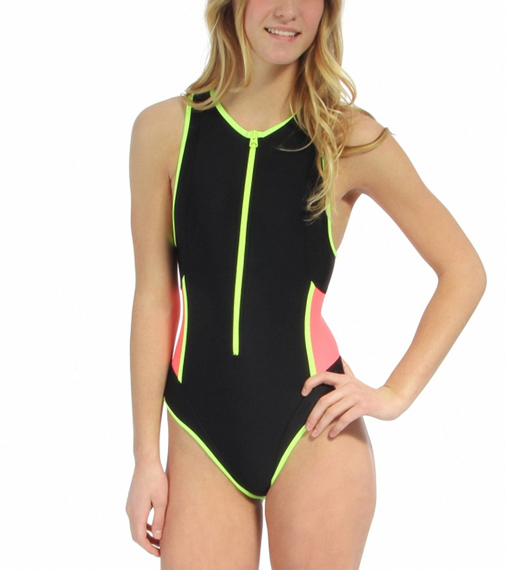 7899a54254 TYR Solid Zipper One Piece at SwimOutlet.com - Free Shipping