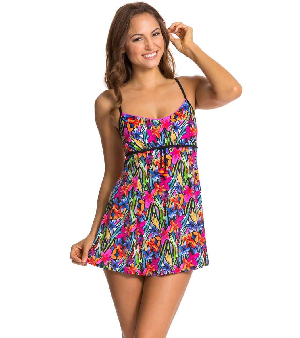 aa5088e9e3a9f Fit4U Brush Stroke Drawstring Swim Dress at SwimOutlet.com - Free ...
