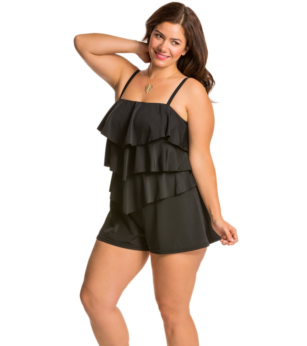 bc8f2a8226 Fit4U Swimwear Plus Size Solid Tiered Swim Romper at SwimOutlet.com ...