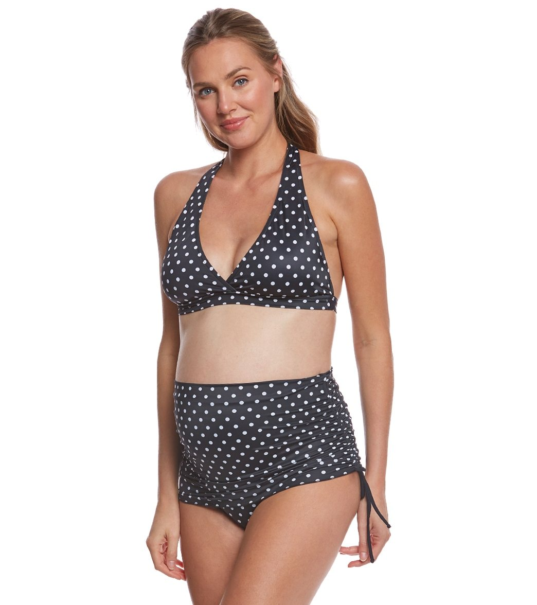 b8de9cfb28d Prego Swimwear Maternity Dot Ruched Two Piece Set at SwimOutlet.com ...