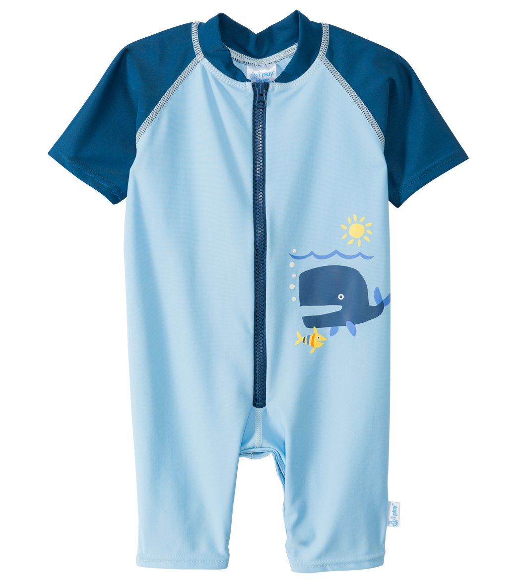 e6350d5c24 iPlay Blue Whale One Piece UV Zip Sunsuit (Baby, Toddler) at SwimOutlet.com