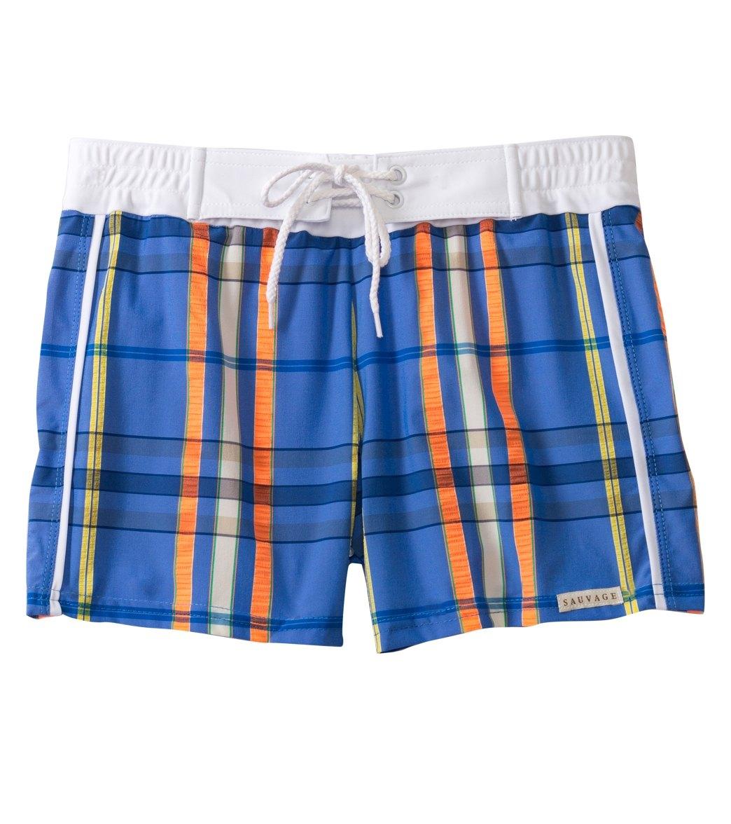 2c44106ea184f Sauvage Men's Como Italia Plaids Retro Square Cut Swim Trunk at  SwimOutlet.com - Free Shipping