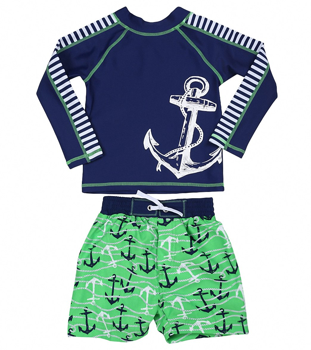 cf0ab47a36 Cabana Life Boys' Anchors Swim Short & L/S Rashguard Set (2T-4T) at ...