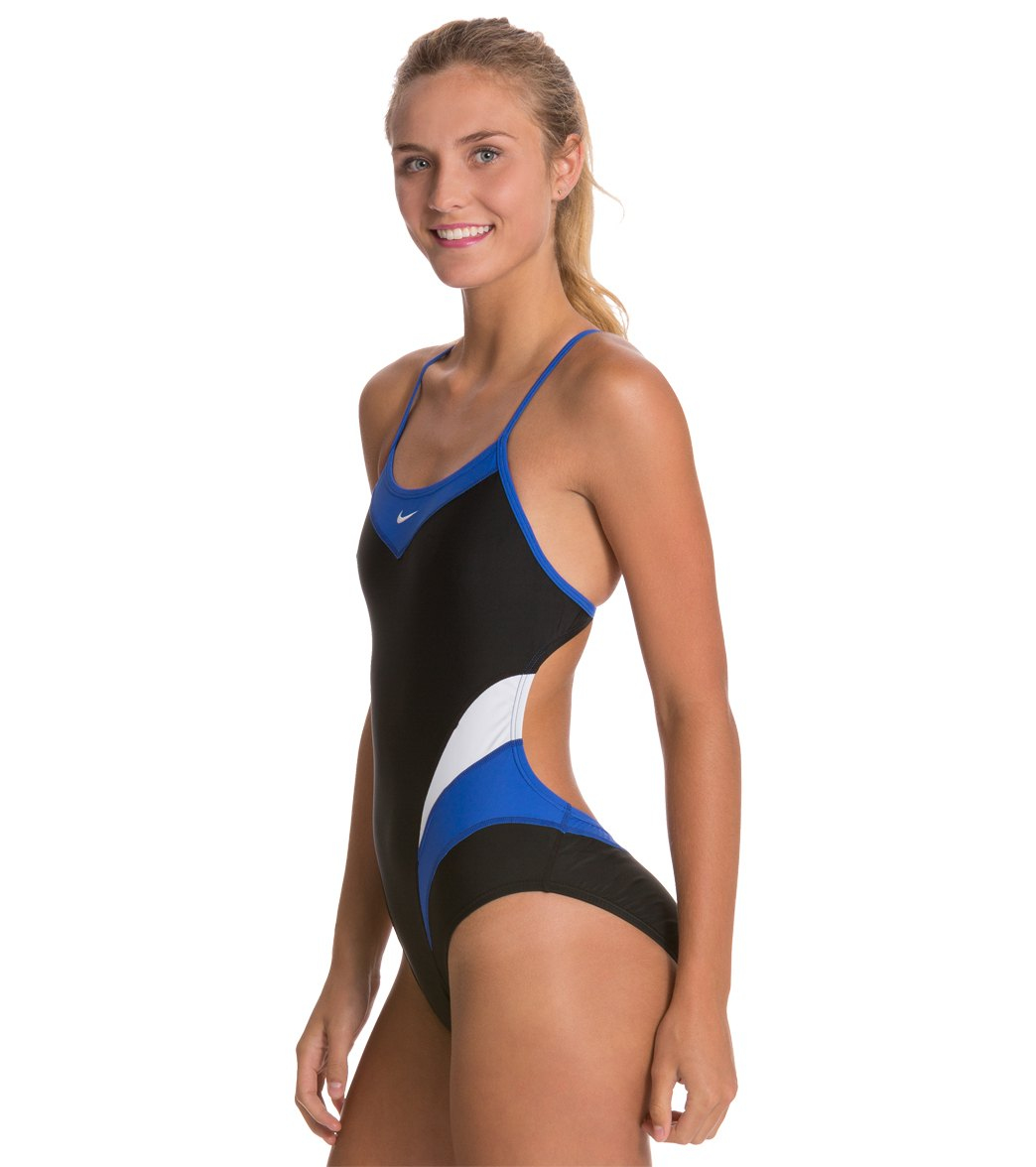 Nike Swim Victory Color Block Cut Out Tank One Piece