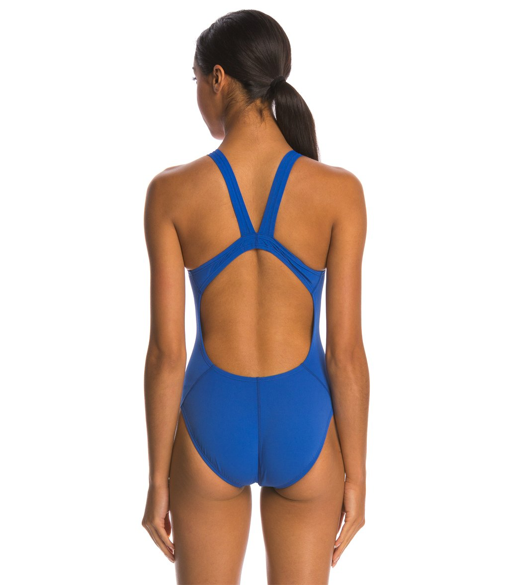8021fa01c59 Nike Women's Solid Poly Fastback One Piece Tank Swimsuit at ...