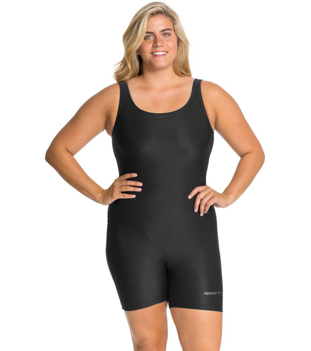 bd15295e6904 Sporti Plus Size Polyester Solid Fitness One Piece Unitard at  SwimOutlet.com - Free Shipping