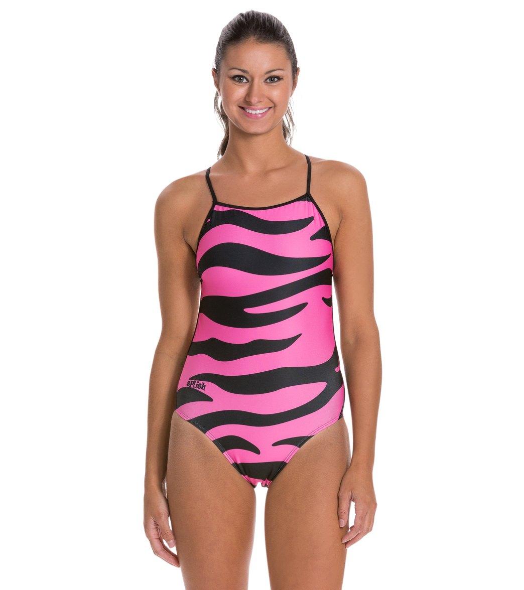 0f298e44da385 Splish Pink Tiger Super Thin Strap One Piece Swimsuit at SwimOutlet.com -  Free Shipping