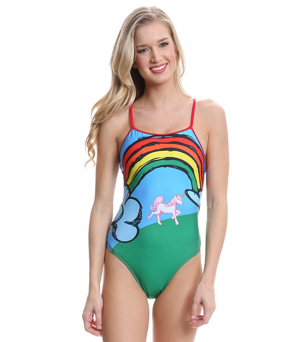 8132ce2252 Splish Unicorns and Rainbows Thin Strap One Piece Swimsuit at  SwimOutlet.com - Free Shipping