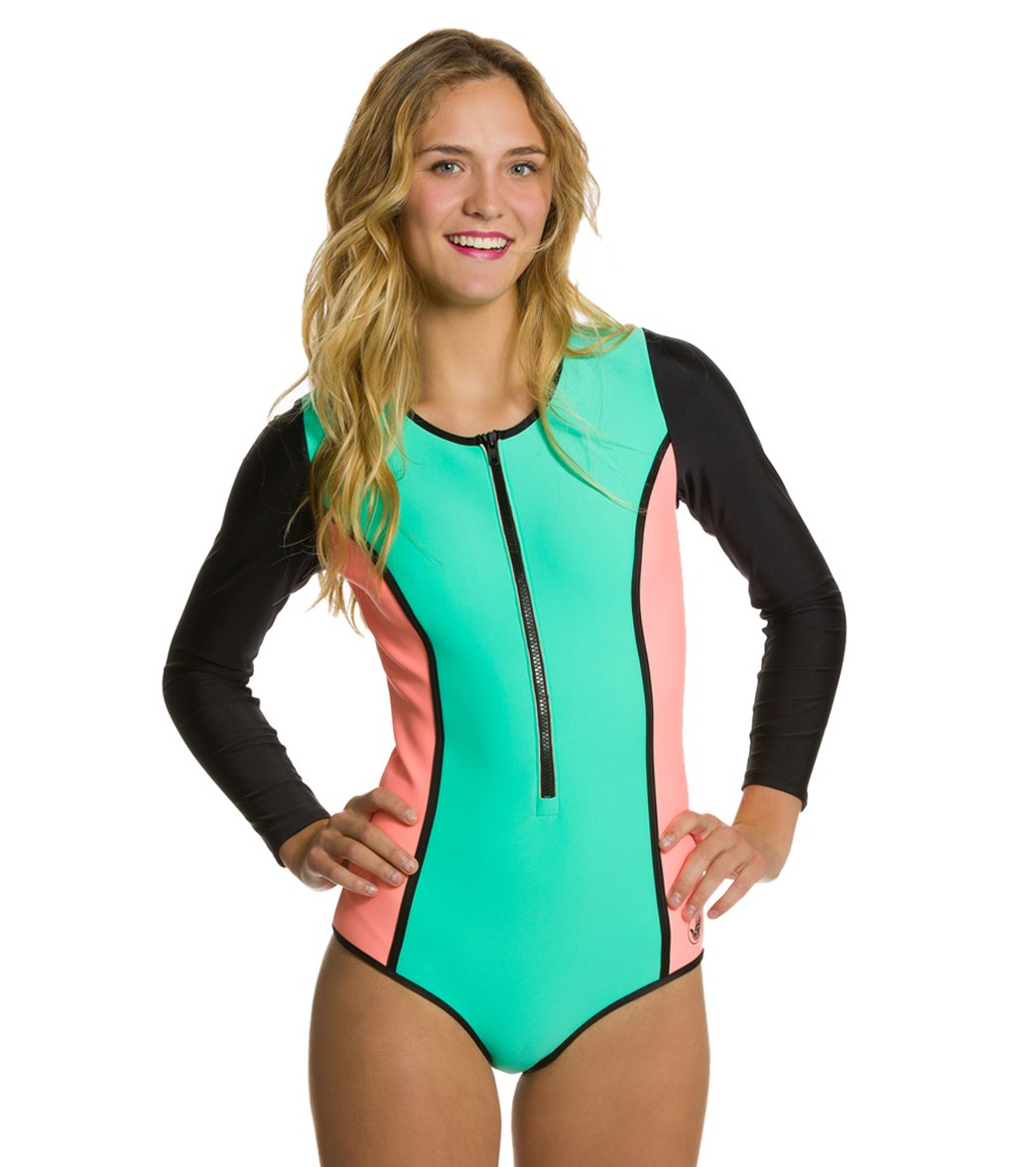 c0b34402a0 Body Glove Womens Neo What Paddle Zip One Piece Swimsuit at SwimOutlet.com  - Free Shipping