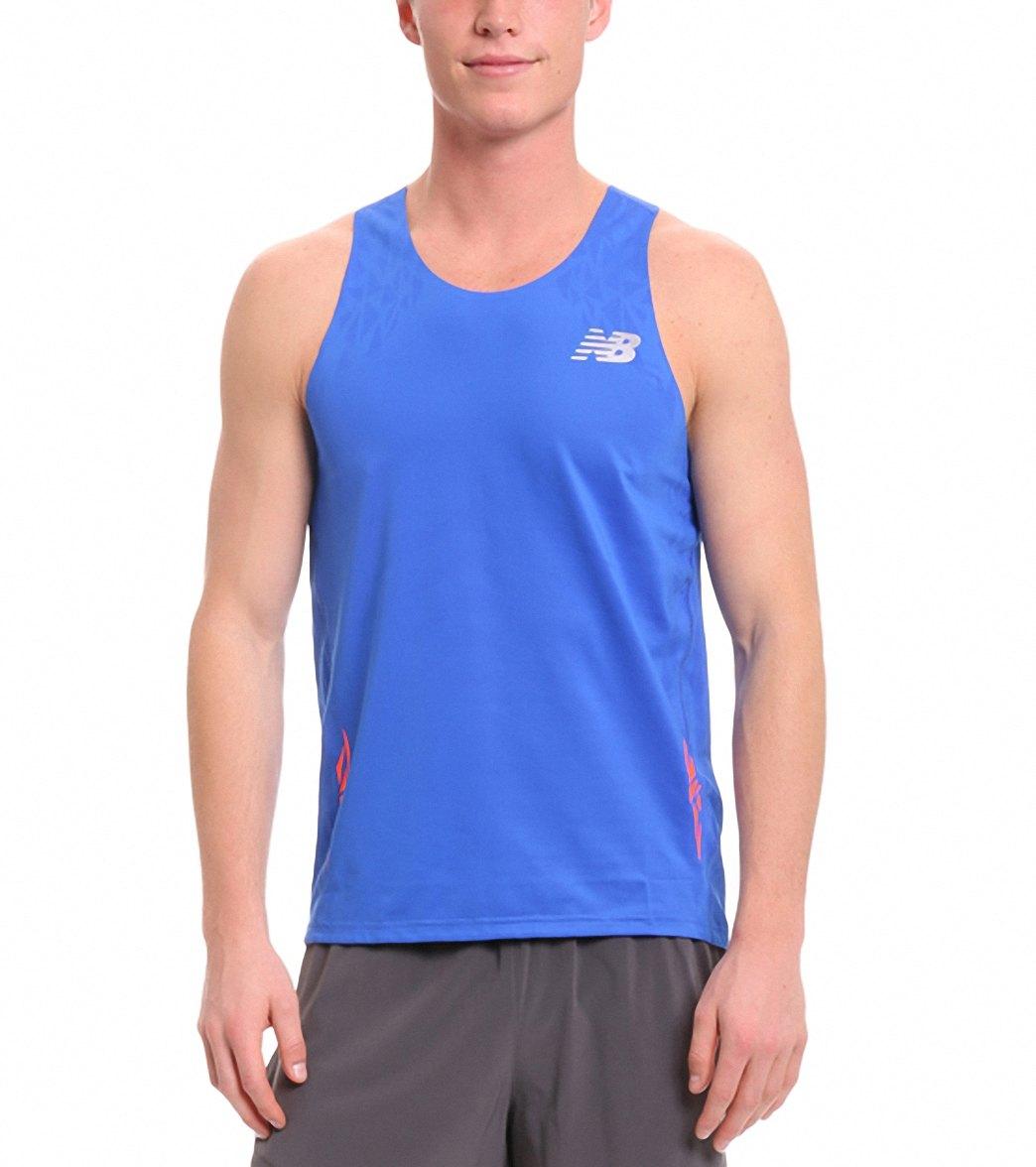 6b0c9d092e454 New Balance Men s Boylston Running Singlet at SwimOutlet.com - Free Shipping