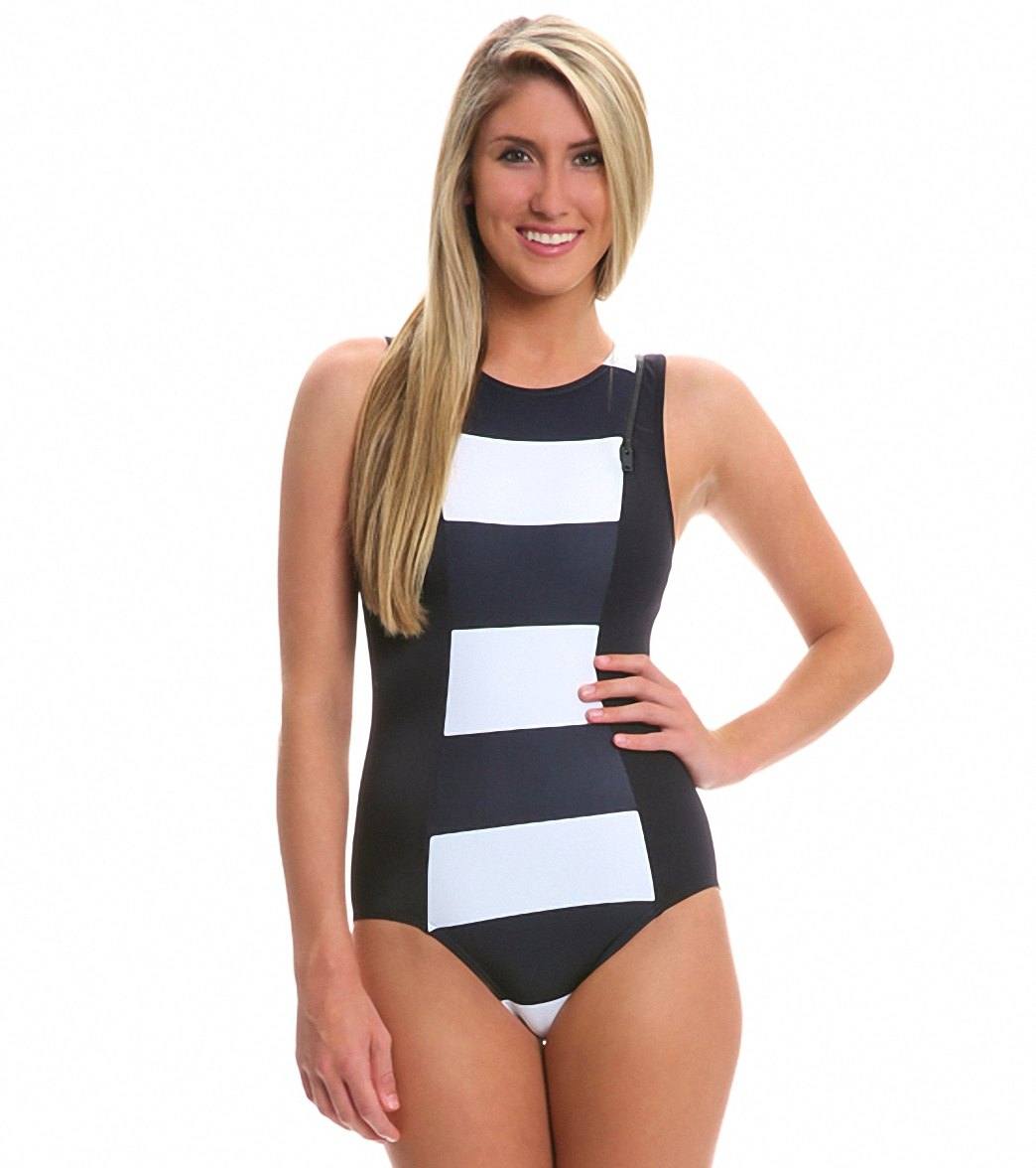 c86319bab2811 DKNY Lorimer Stripe High Neck One Piece Swimsuit at SwimOutlet ...