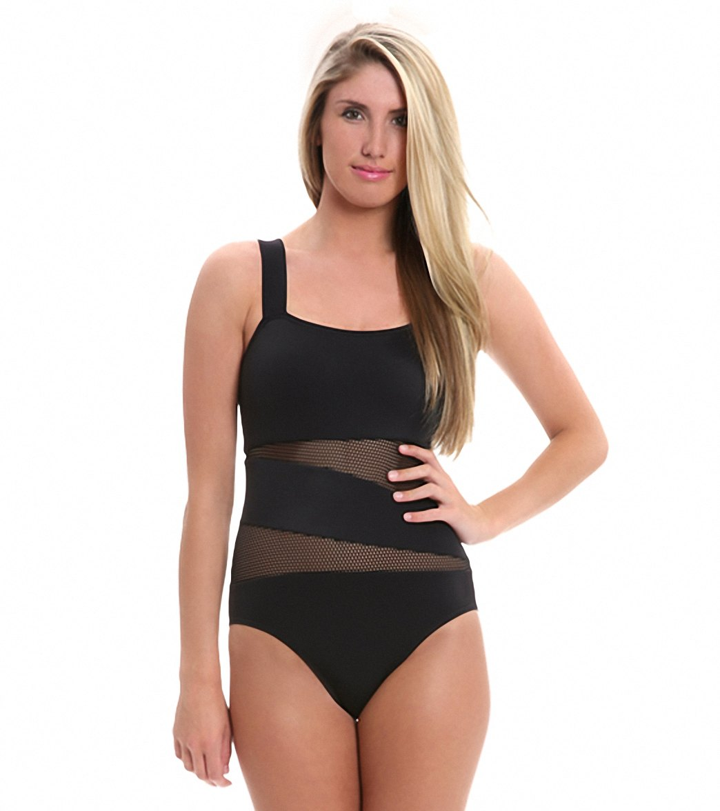 329edc4a9a257 ... DKNY Solid Mesh Splice One Piece Swimsuit. Play Video. MODEL  MEASUREMENTS