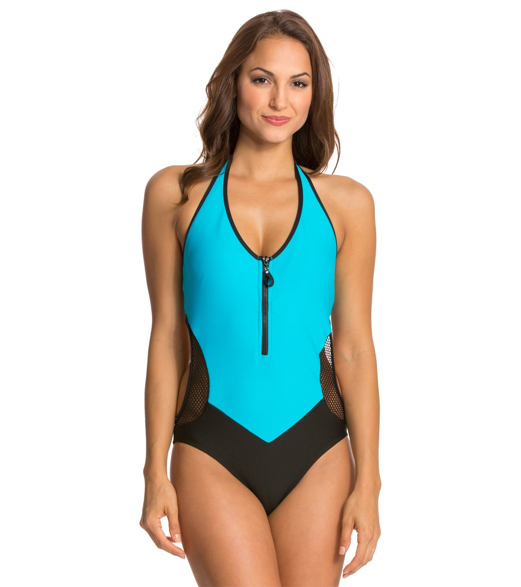 Nautica Womens Full Speed Zip Front One Piece Swimsuit at ... 541ca67ea