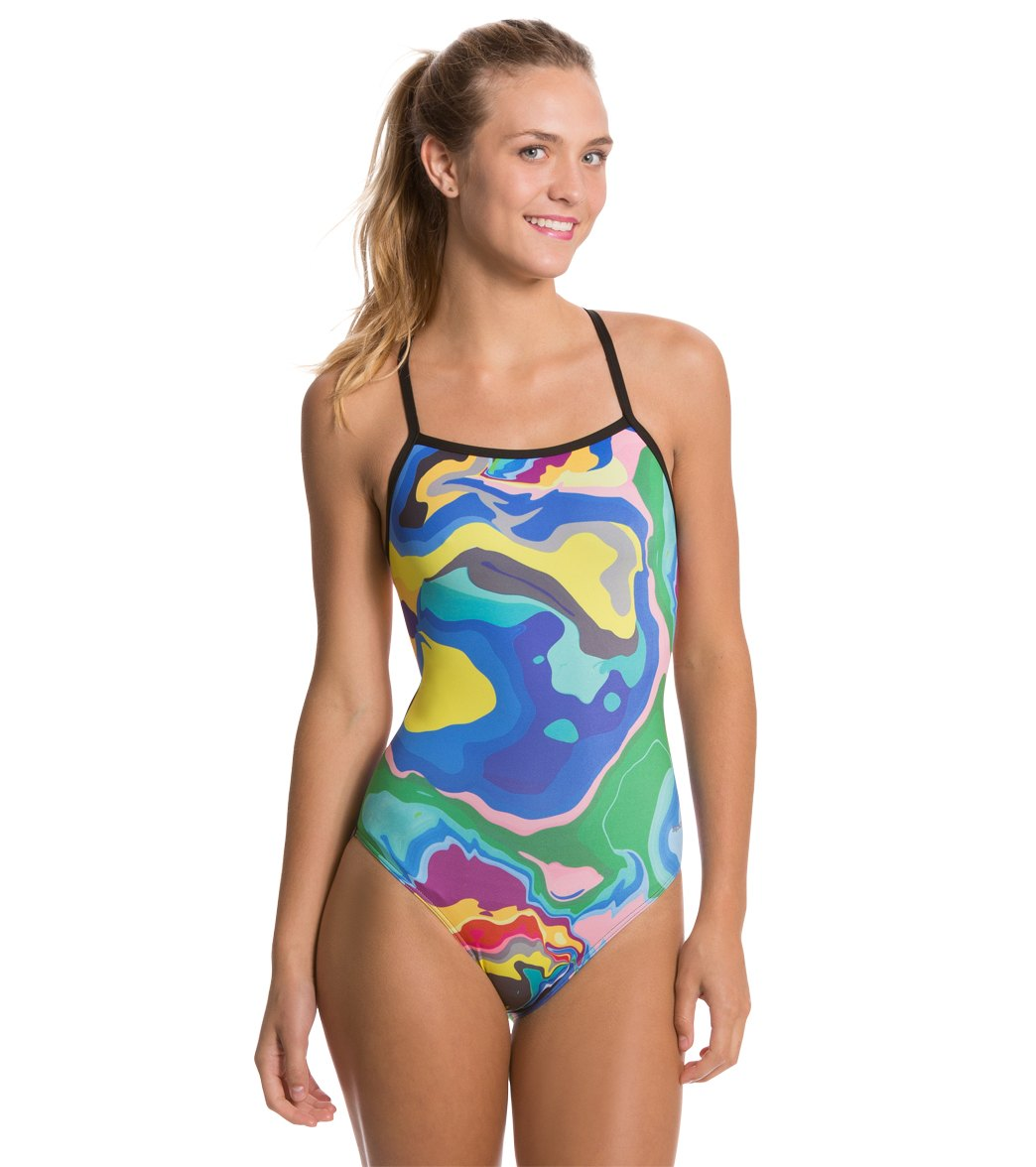 7abe53a0f8 Sporti Spiffiez Abstract Thin Strap Swimsuit at SwimOutlet.com