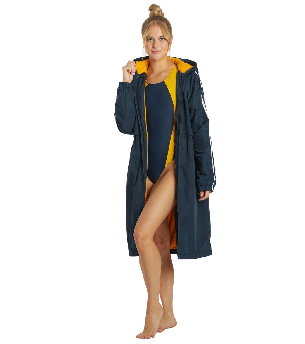 Sporti Striped Comfort Fleece-Lined Swim Parka Shell Lining Coat