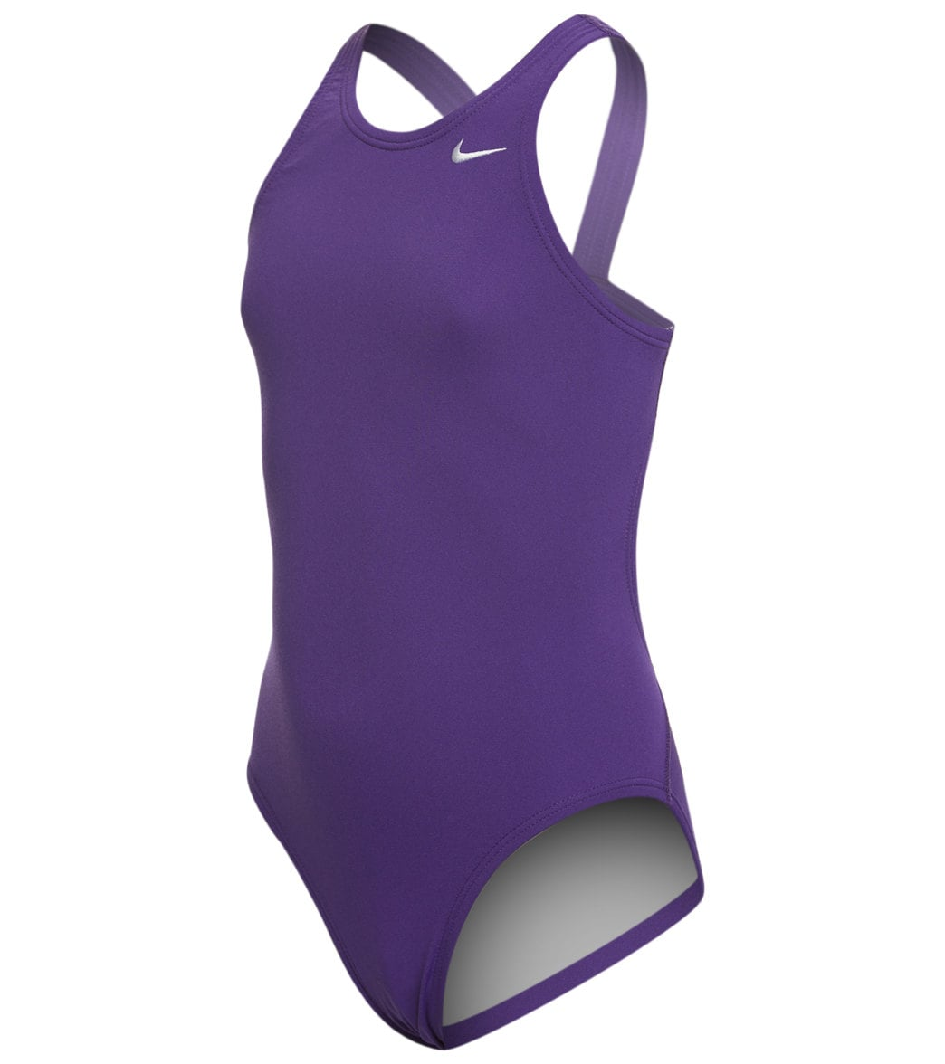 bc7d97a40aa Nike Girls  Solid Poly Fastback One Piece Tank Swimsuit at SwimOutlet.com -  Free Shipping