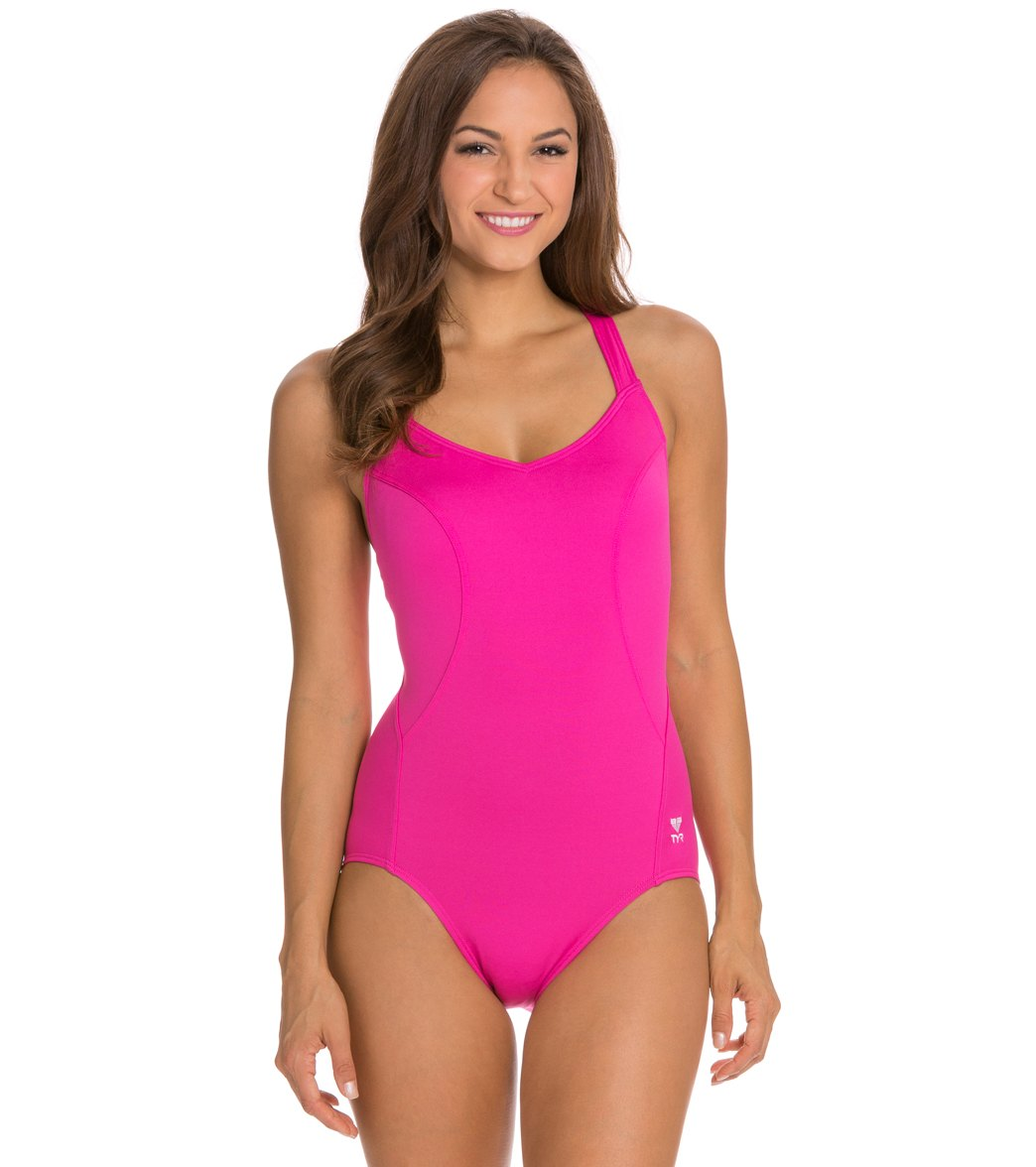 5192637c532cb ... TYR Solid Pink Halter Controlfit Play Video. MODEL MEASUREMENTS