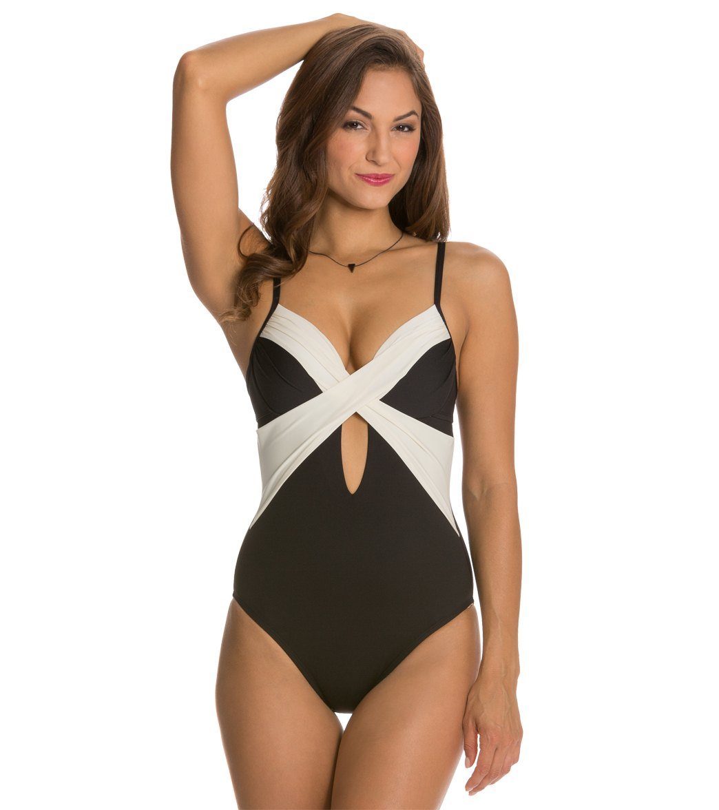574e2368f26e8 Kenneth Cole Tribal Beat Underwire Wrap One Piece Swimsuit at ...
