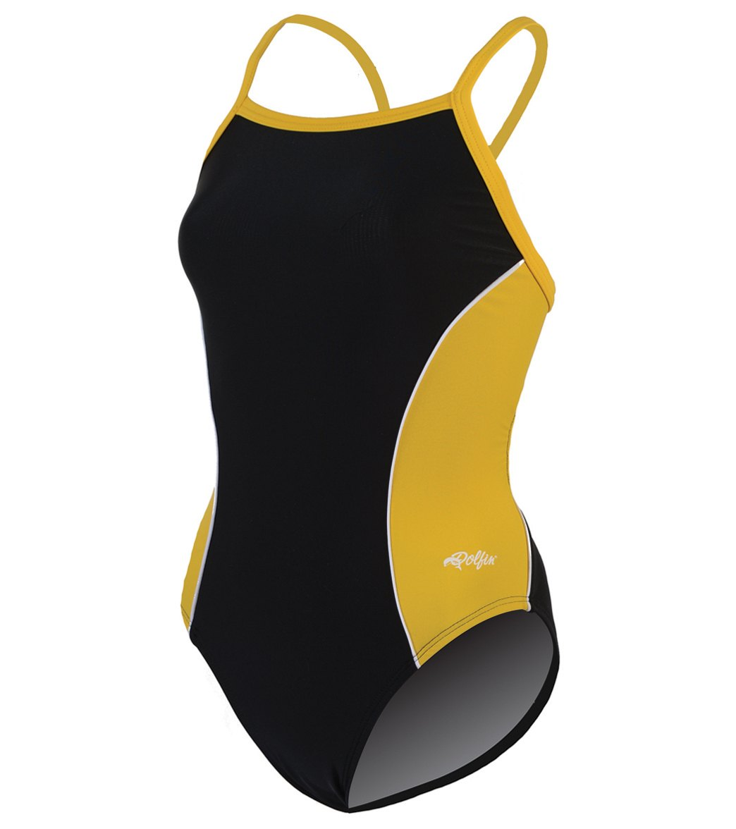 1786d93e21f Dolfin Team Color Color Block Female V-2 Back One Piece Swimsuit at  SwimOutlet.com - Free Shipping