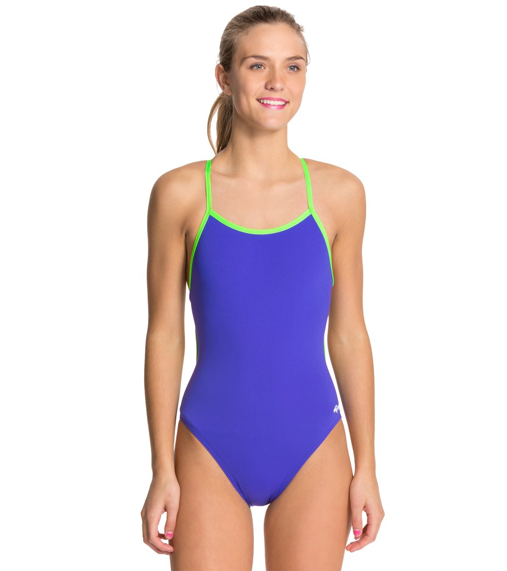 Dolfin All Poly Female Varsity Solid String Back One Piece Swimsuit