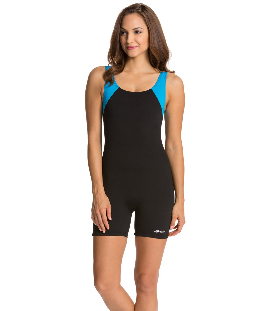 77f712aa0f Dolfin Women s Aquashape Aquatard Color Block Unitard Swimsuit at  SwimOutlet.com - Free Shipping