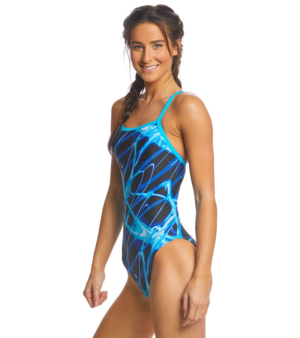 186e93c2a2 SwimOutlet Exclusive Waterpro Lightning Thin Strap One Piece Swimsuit