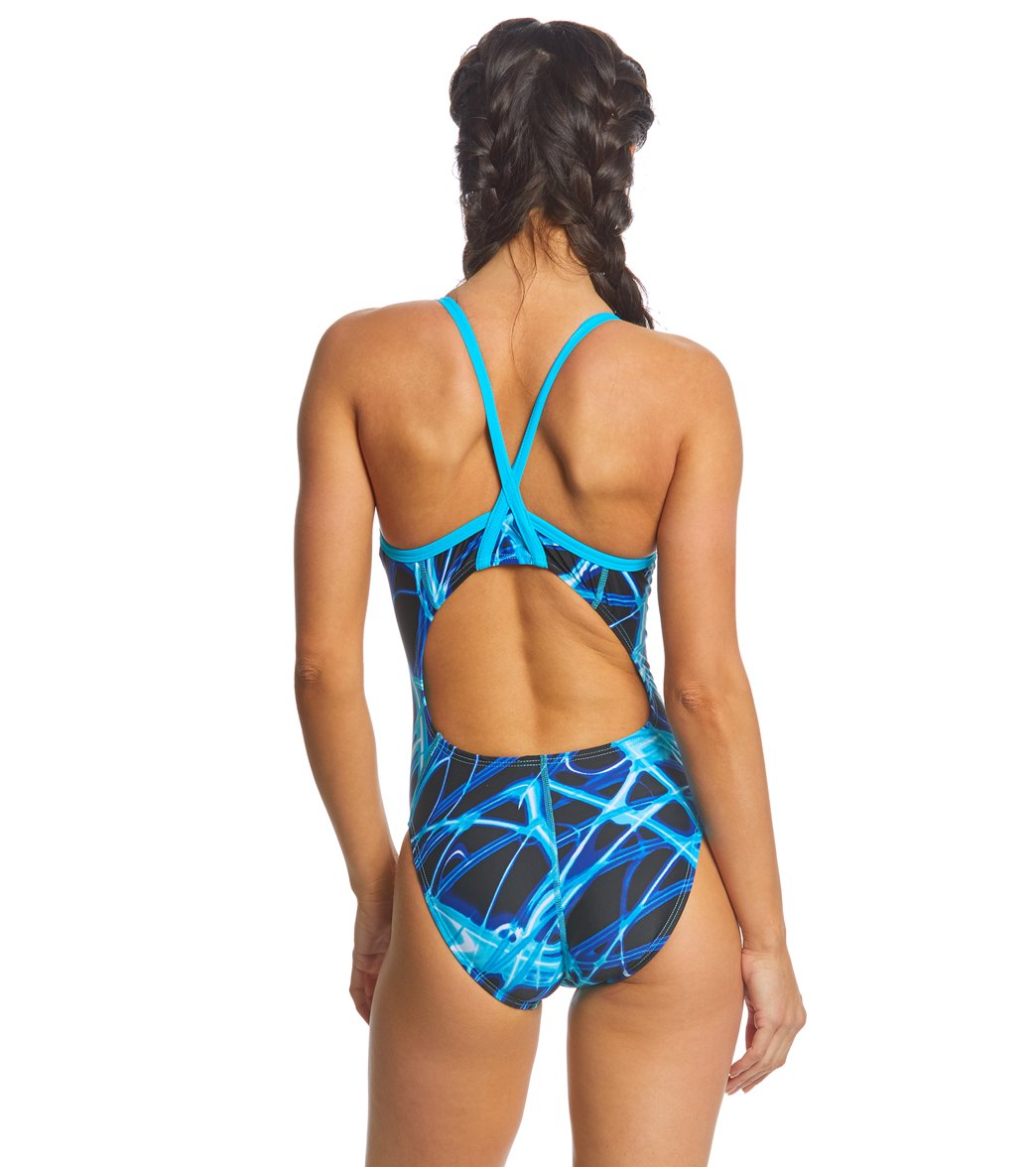 f17027412 SwimOutlet Exclusive Waterpro Lightning Thin Strap One Piece Swimsuit