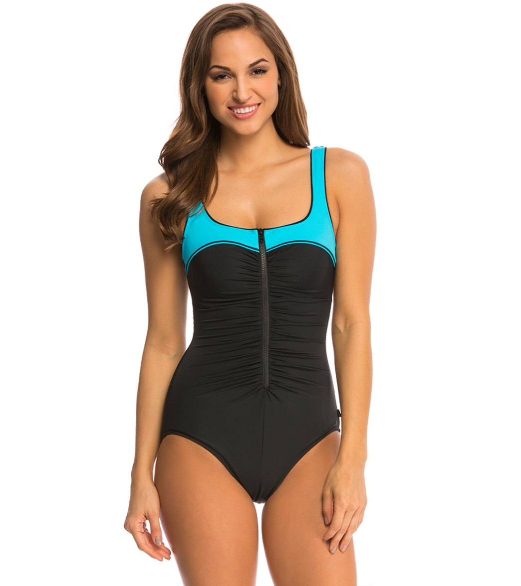 8f0a876024b8c ... Reebok Fitness Zip Tide Chlorine Resistant U-Back One Piece. Play  Video. MODEL MEASUREMENTS