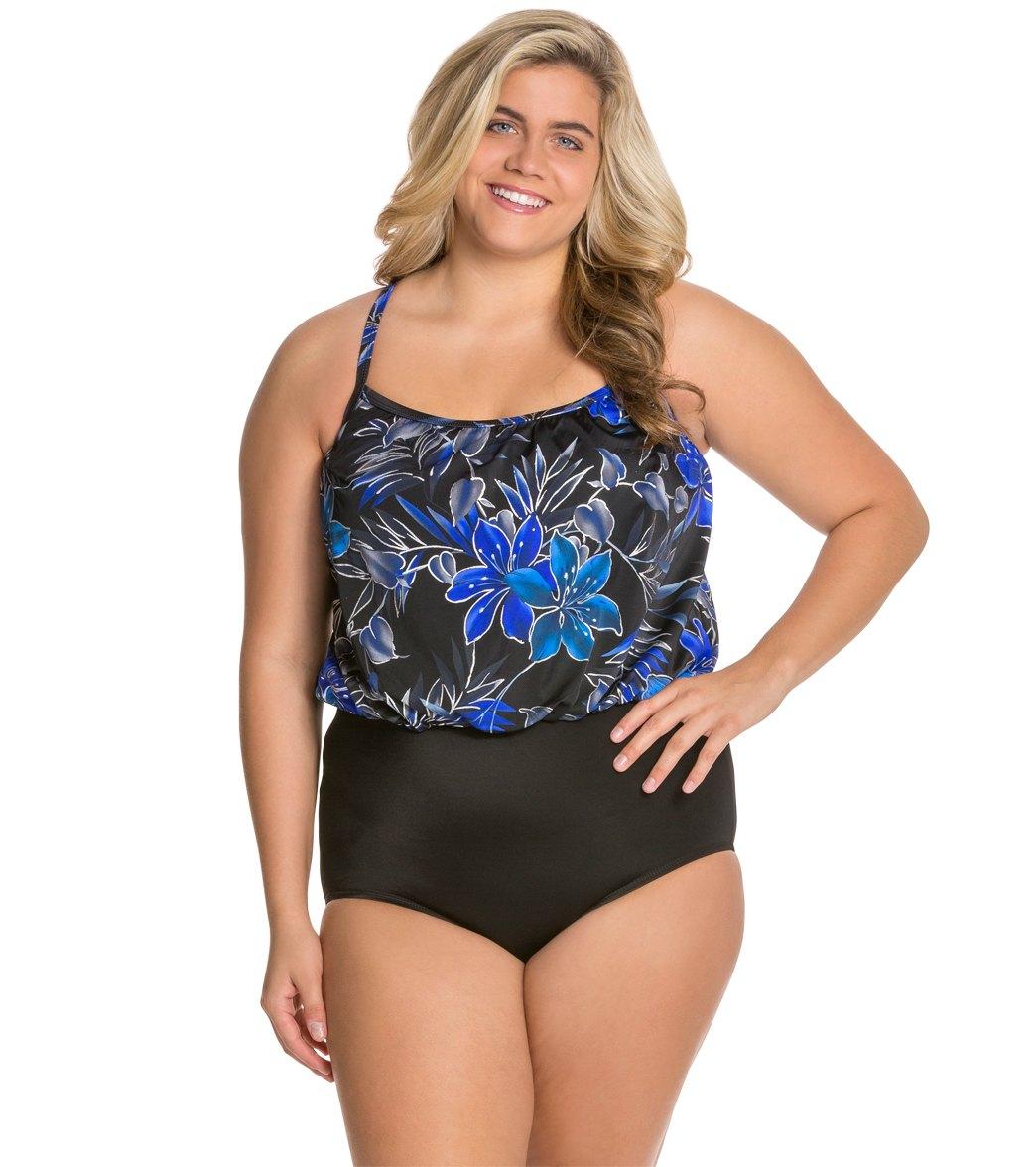 df8316b251718 Blouson Swim Tops Plus Size