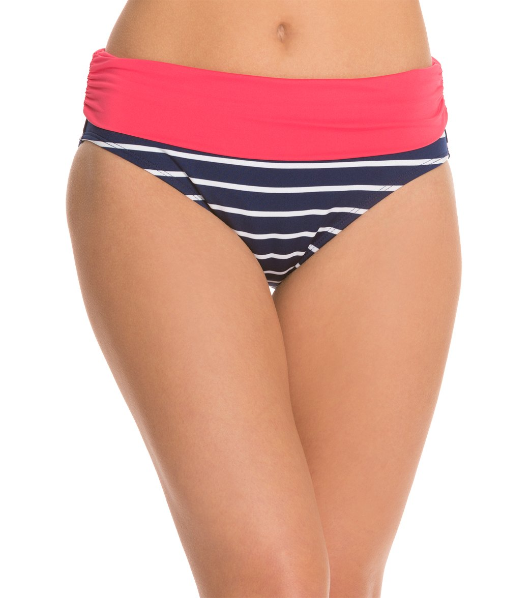 33a7343f471 Beach House Swimwear Skipper Stripe Fold Over Bikini Bottom at ...