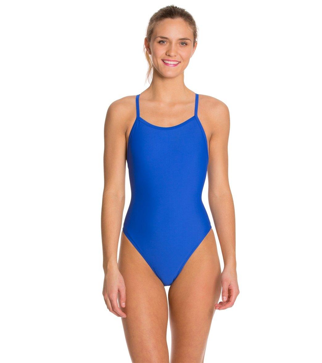 Essentials Womens Thin Strap One-Piece Swimsuit